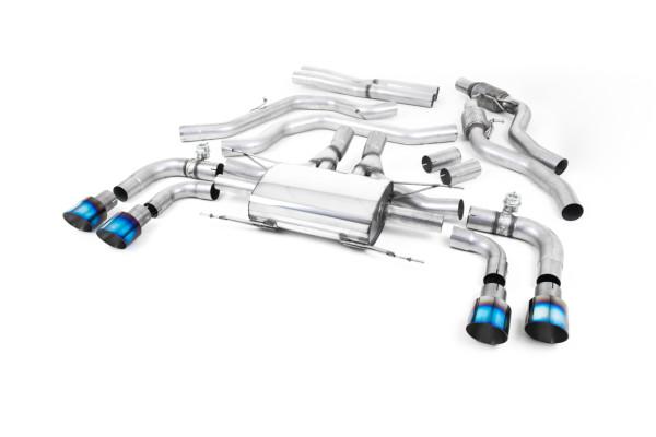 Milltek SSXAR009 Cat-back Quad 100mm GT100 - Alfa Romeo Giulia Quadrifoglio 2.9 V6 Bi-Turbo (Non OPF
