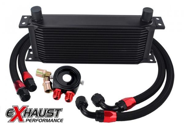 EXH Universal Ölkühler Kit 16 Reihen Black incl. Anschlußset Abverkauf