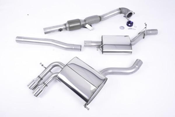 Milltek SSXAU044 Turbo-back including Hi-Flow Sports Cat Twin 76.2mm Jet - Audi A3 2.0T FSI quattro