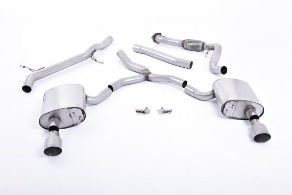 Milltek SSXAU617 Cat-back Dual 100mm GT100 - Audi A4 2.0 TFSI B9 Quattro Saloon & Avant (Non OPF/GPF